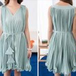 [gryxh3600274]sweet elegant pink Pleated chiffon dress--green