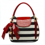 [grdx02075]fashion Bowknot Lovely zebras stripe woman handbag
