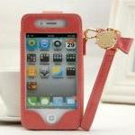 cute Leather bowknot chain case for iphone4/4s-pink