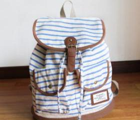 [grdx02122]cute vivi retro navy zebra stripe woman backpack/bag