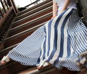 [gryxh3600001]blue and white Chiffon stripes half long skirt-----blue
