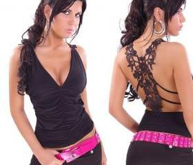 [gryxh3600386]cool sexy fashion lace t shirt-black
