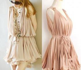 [gryxh3600274]sweet elegant pink Pleated chiffon dress---skin color