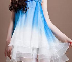 Sleeveless Sexy Hollow Out Color Gradient Organza A-line Tutu Dress [ghyxh36242]
