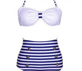 High Waisted Vintage Halterneck Cross Stripe Six Buttons Swimsuit For Women [glj10084]