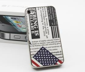 The stars and stripes flag newspaper fashion case for iphone4/4s