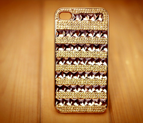 rhinestone chain stripe case for iphone 4/4s-deep color