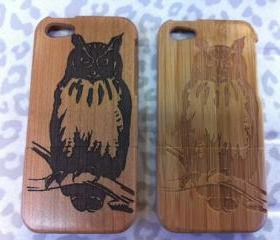 owl Walnut Hard Carve Wooden Case for Iphone 4/4s