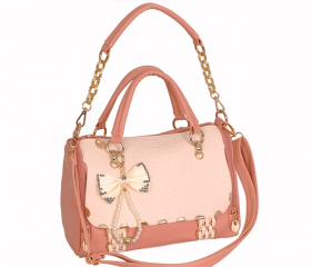 Alligator Pattern shoulder bowknot woman bag-light pink