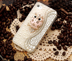 cute handmade owl rhinestone pearl ultra-thin case for iphone 4/4s