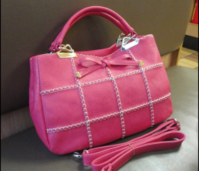 cute PU lattice Woven wire bowknot woman shoulder bag-pink