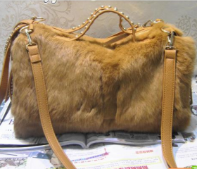 Rabbit fur rhinestone rivet fashion woman bag/handbag-yellow