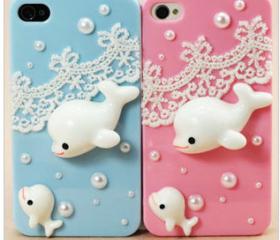 [gryxh3100021]cute whale lace case for iphone 4/4s