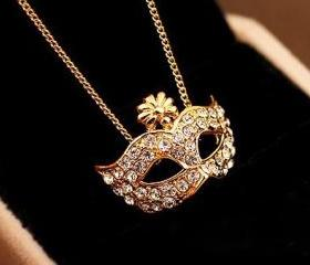 [gryxh3100200]mask retro palace Drill diamond Rhinestone necklace