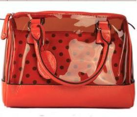wave point transparent red woman shoulder bag