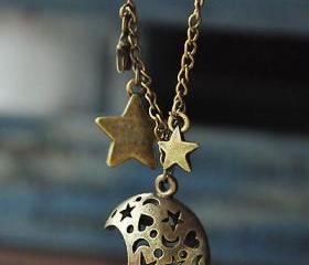 retrohollow out moon stars bronze pendant necklace