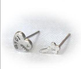 lock key letter LOVE earrings/Ear Ring/Stud