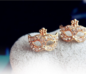[gryxh3300015]lovely mask rivet flower ear stud
