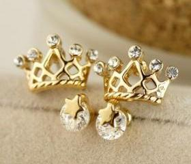 [gryxh3300220]shining stars crown earrings set Ear stud gift-yellow