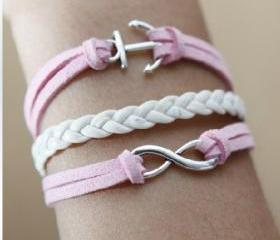 retro silvery Anchor romantic password Multilayer bracelet